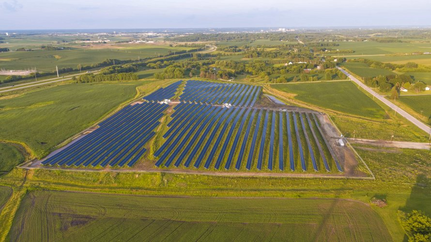 Community Solar farm MN Aerial View
