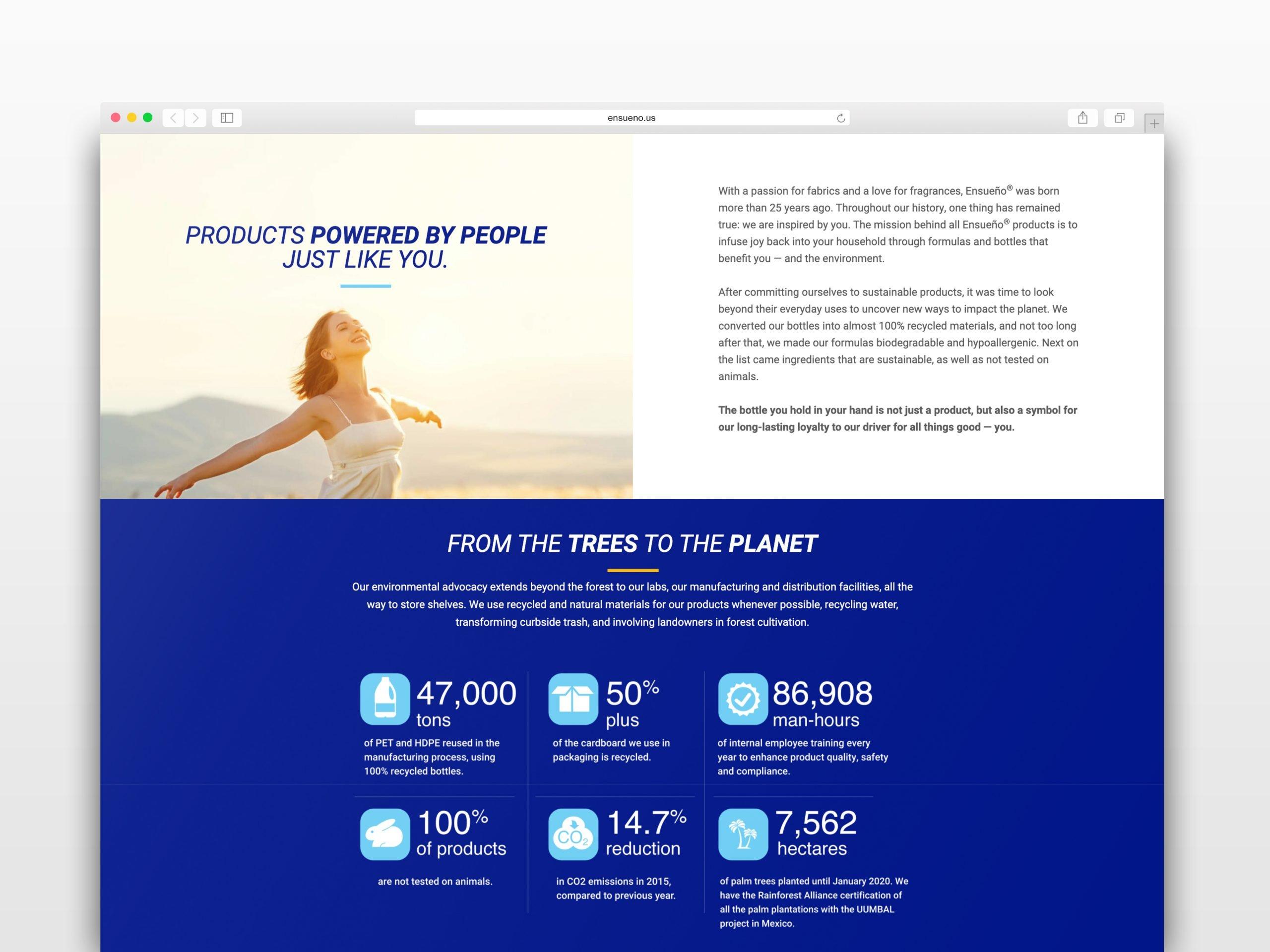 Ensueno website mockup